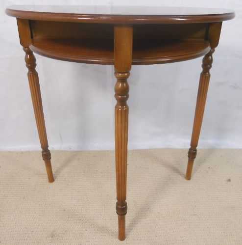 Antique Georgian Style Yew Wood Bowfronted Console Table